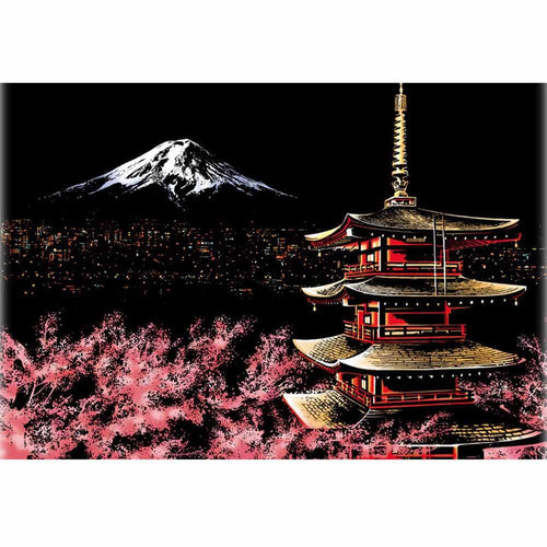 Scratch Painting - Berg FuJi Japan