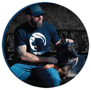 Mike Ritland with dog. Fueled by Team Dog Premium Dog Food