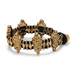 Black silk woven bracelet, brass diamond shaped motifs, handcrafted jewelry
