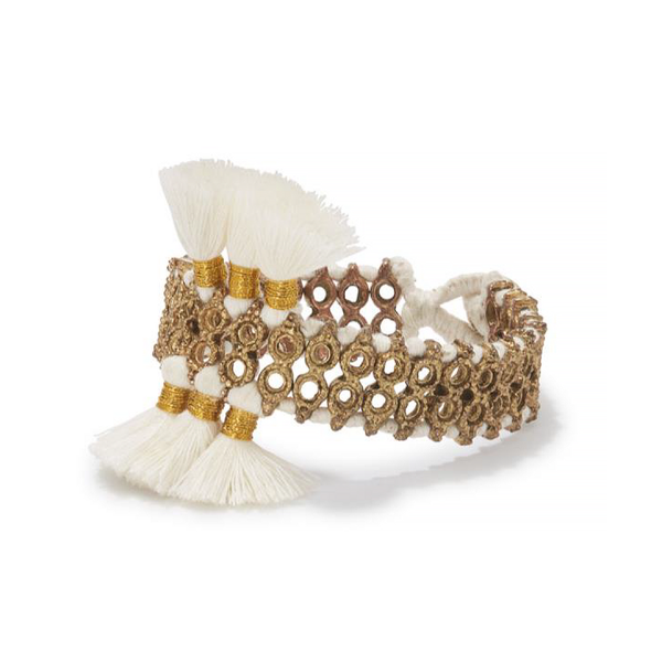 White silk chord brass woven bracelet, handcrafted jewelry