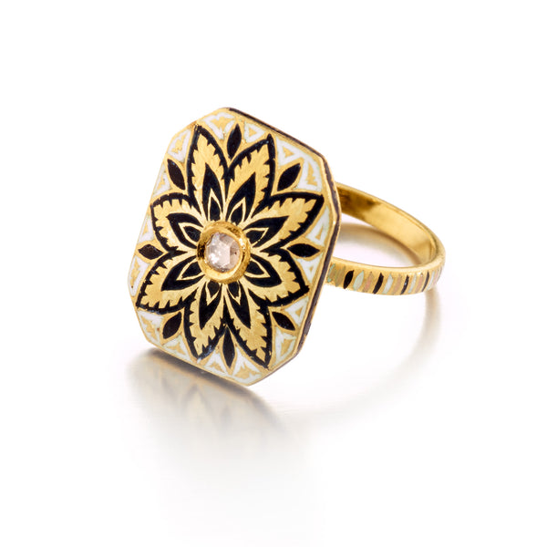 Meena Diamond Lotus Ring