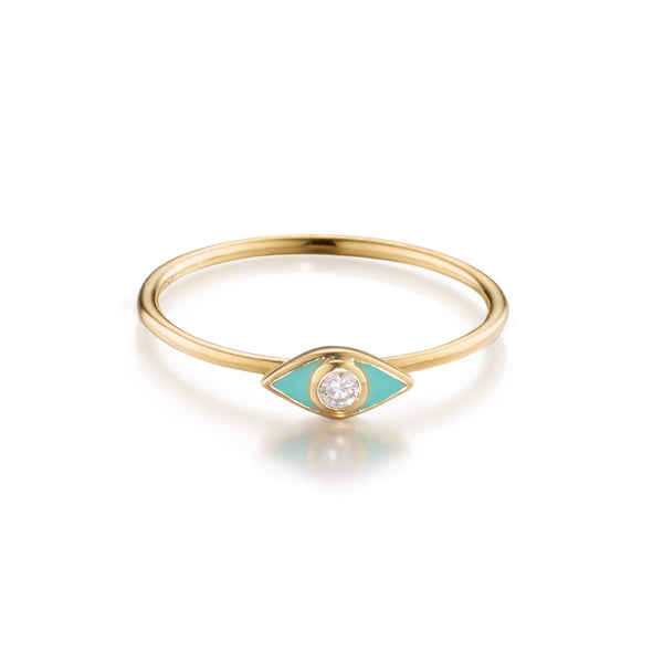 Powder Blue Petite Diamond Evil Eye Ring