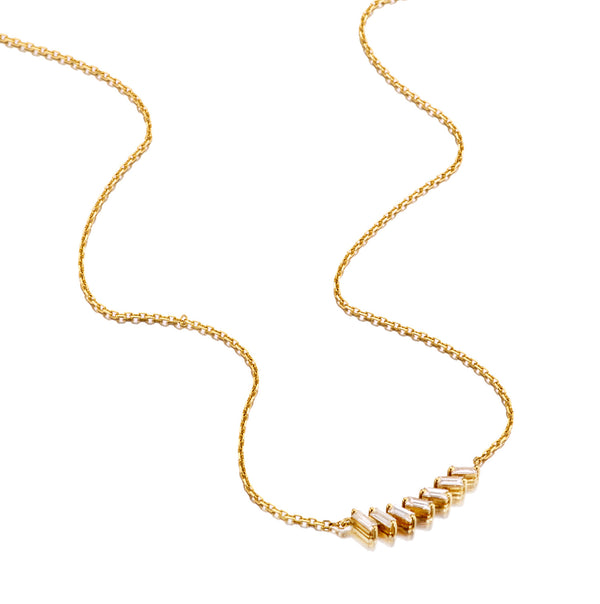 Diamond Baguette Bar Necklace