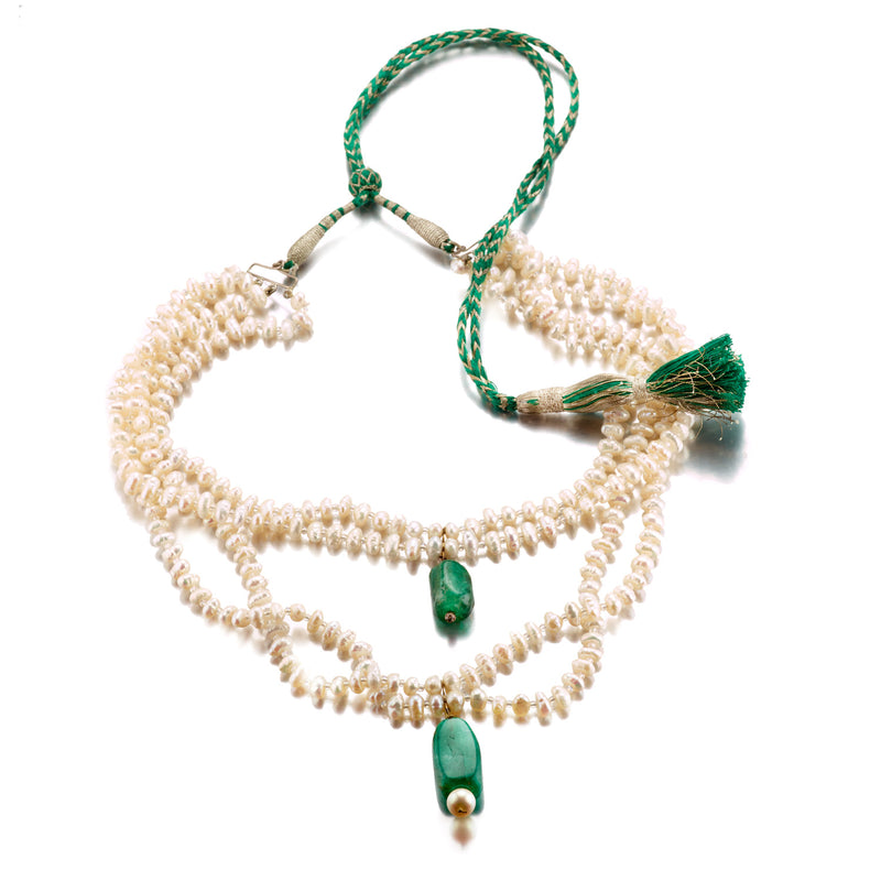Emerald & Pearl Cascading Necklace