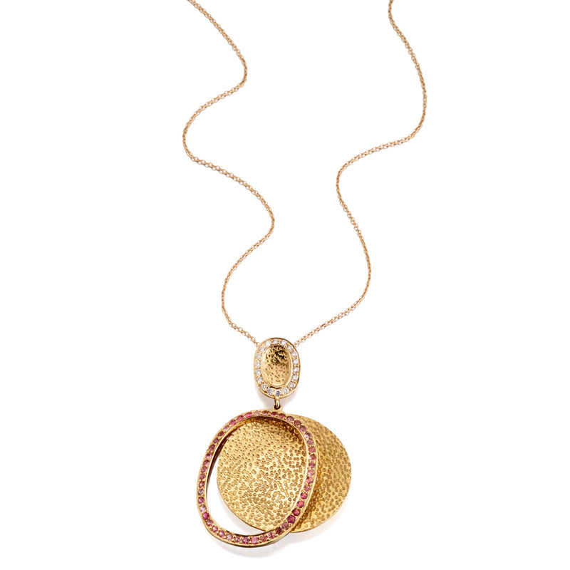 Shimmer Diamond & Pink Tourmaline Oval Pendant Necklace