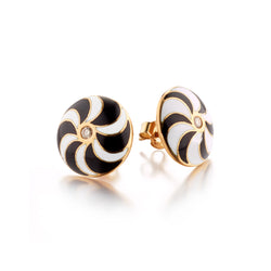 Diamond Kaleidoscope Black & White Swirl Earrings