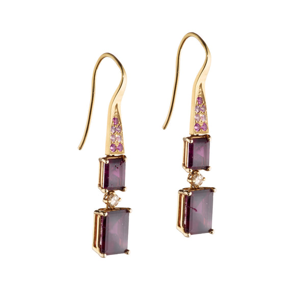 Rectangle Garnet Geometric Earrings