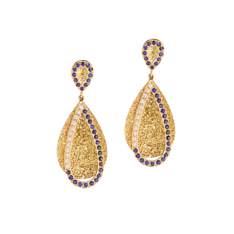 Shimmer Diamond & Sapphire Tear Drop Earrings
