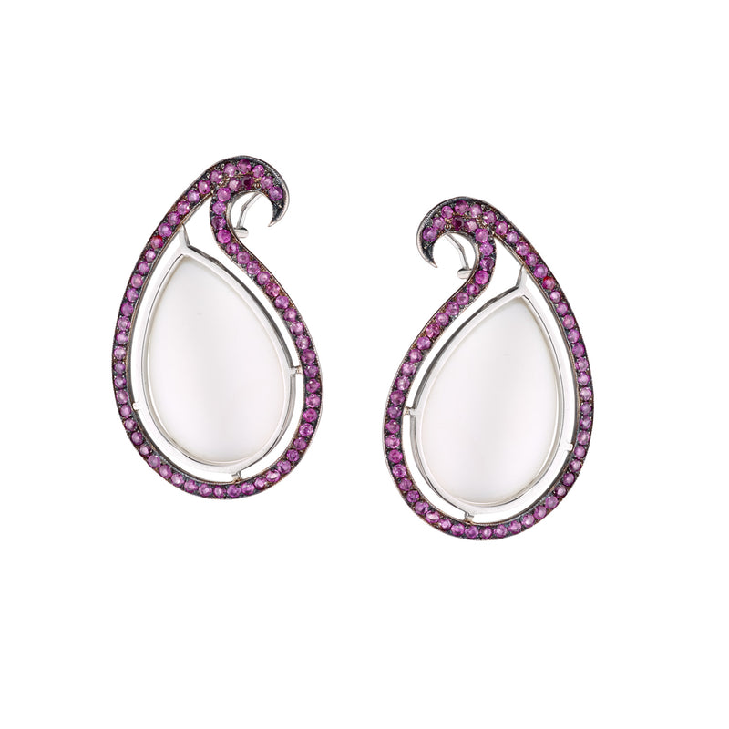 Mother of Pearl & Ruby Paisley Earrings