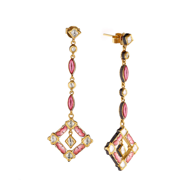 Lotus Pink Meena Petal & Polki Diamond Earrings