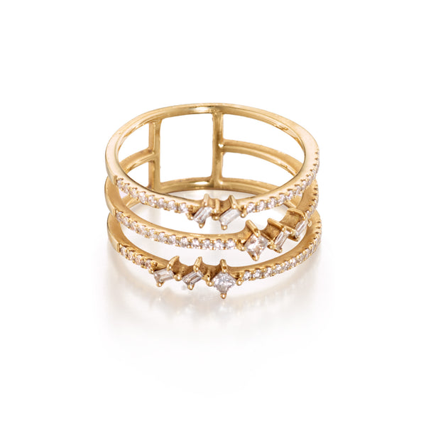 Diamond Baguette Princess Trio Band Ring
