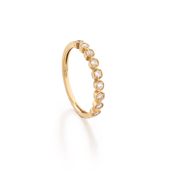 Diamond Hexagon Stackable Ring