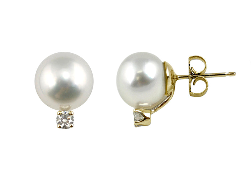 White South Sea Cultured Pearl Diamond Stud Earrings