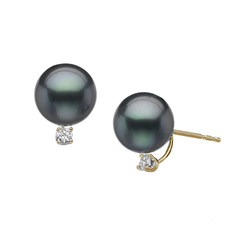 Tahitian Cultured Pearl Diamond Stud Earrings