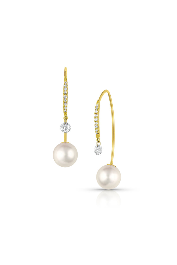 Akoya Pearls and Pear-Shaped Diamond Earrings
