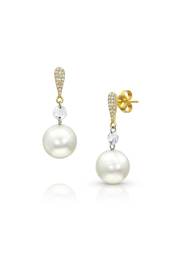 Diamonds and Akoya Cultured Pearl Drop Earrings