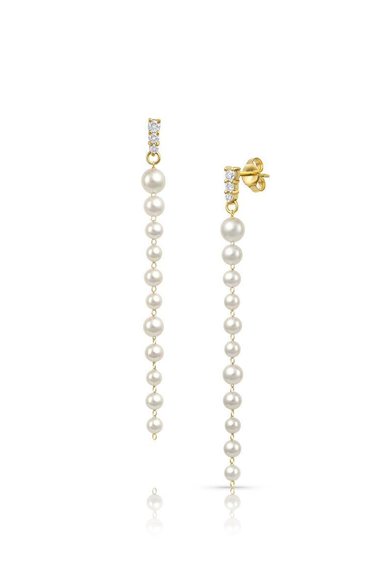 Petite Akoya Pearl and Diamond Linear Graduating Earrings