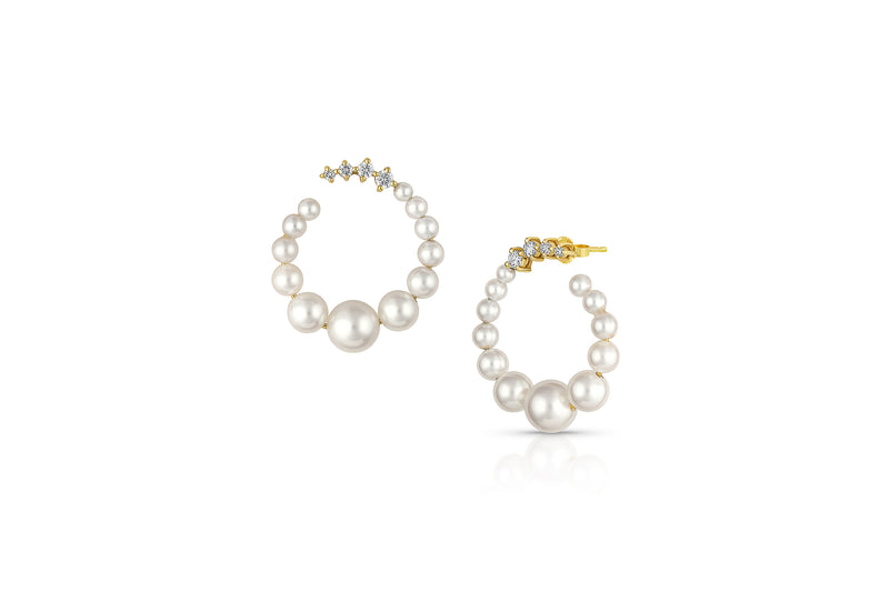 Petite Akoya Pearl Diamond Medium Hoop Earrings