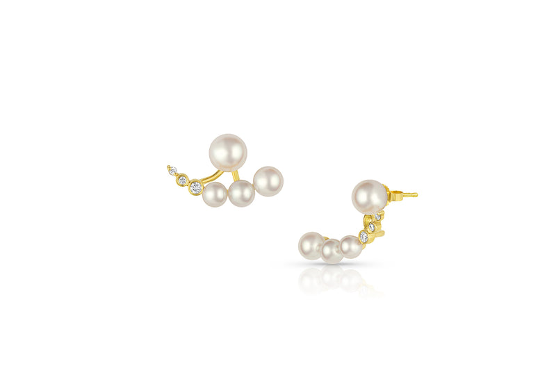 Petite Akoya Pearl Graduating Ear Jacket Earrings