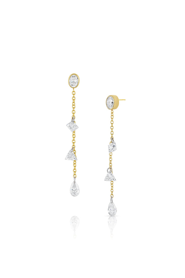 Oval and Mixed Diamond Dangle Earrings