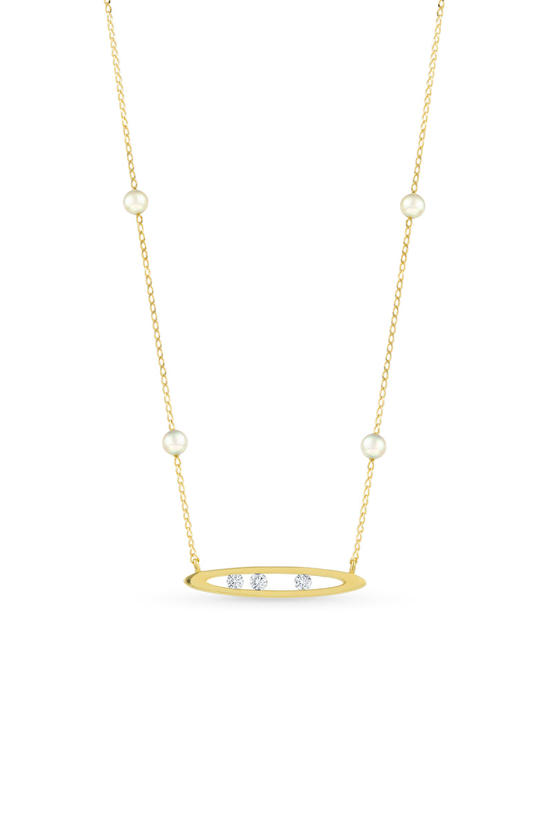 Akoya Pearl Diamond Marquise Channel Chain Necklace