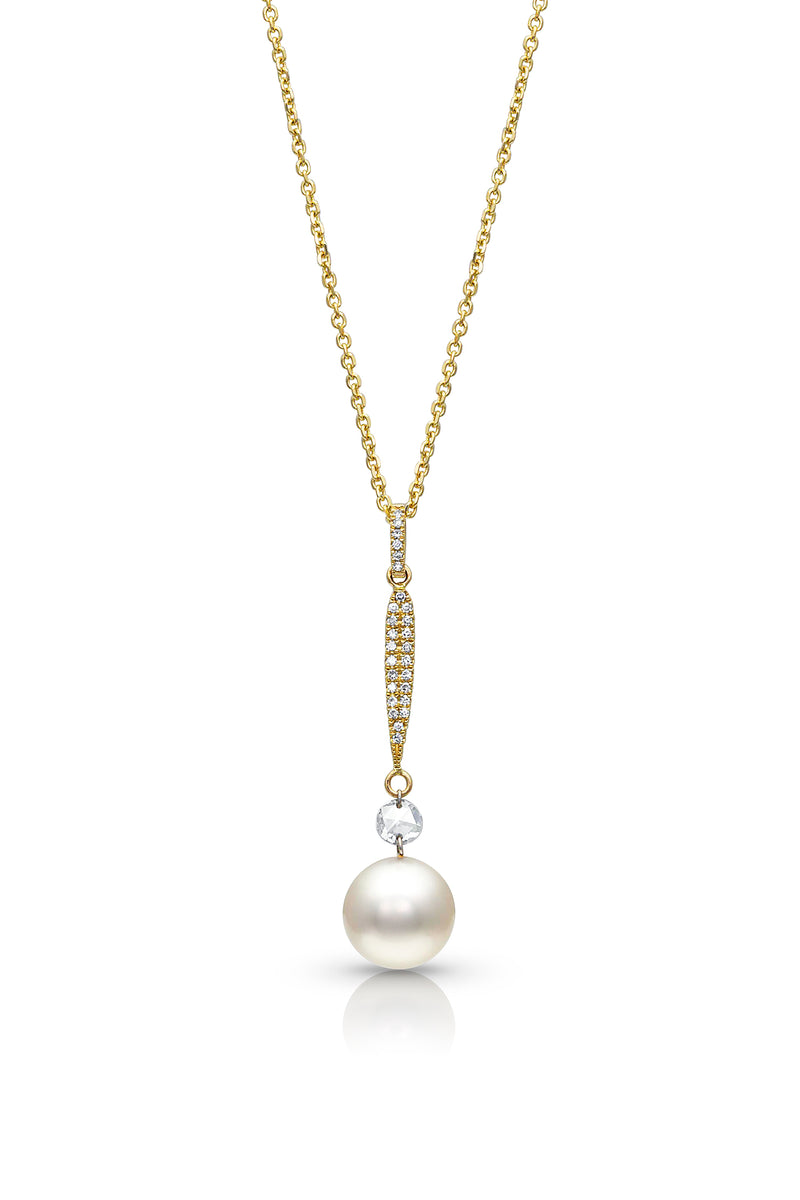 Diamonds and Akoya Cultured Pearl Drop Necklace