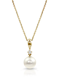 Akoya Pearl and Diamond Pendant Necklace