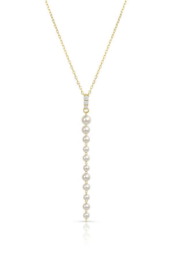 Akoya Pearl and Diamond Linear Pendant Necklace