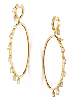 Diamond Baguette Carousel Hoops