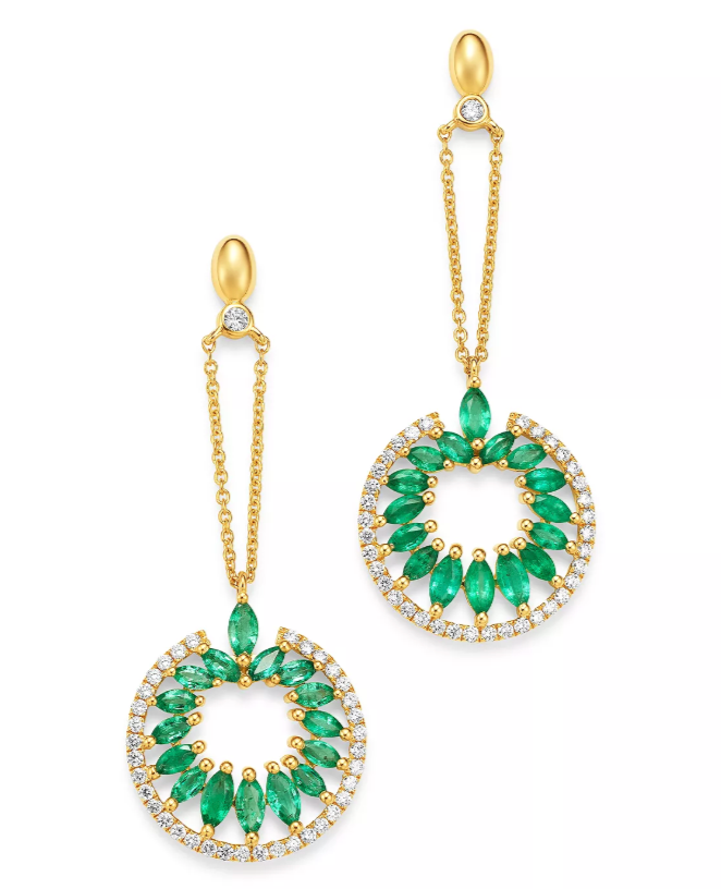 Diamond & Marquis Emerald Earrings