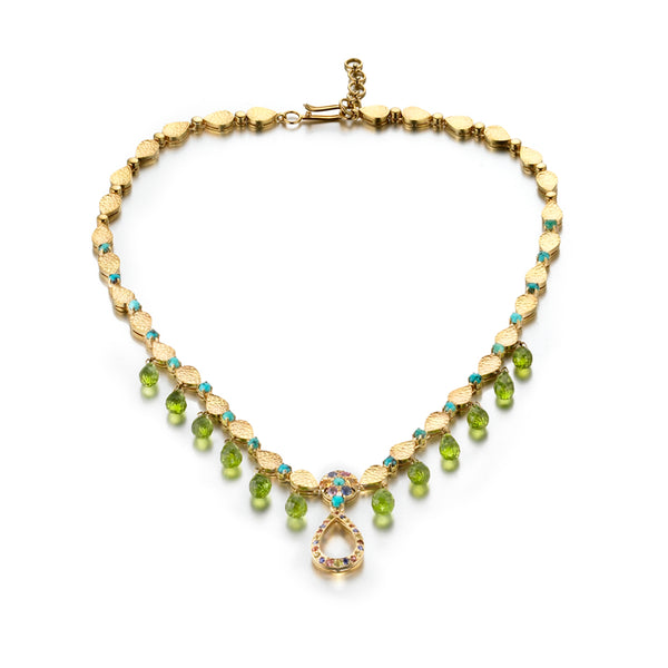 Hammered Gold Colorful Gemstone Necklace