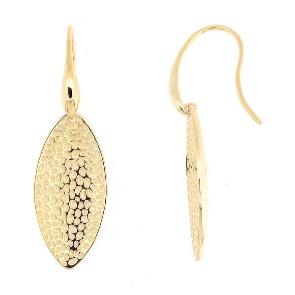 Hammered lotus petal earrings, sterling silver gold plated jewelry