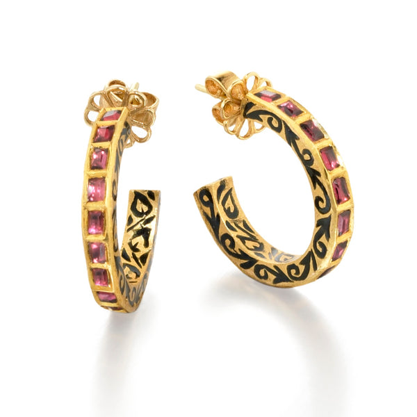 Indian meena enamel garnet hoop earrings, handcrafted fine jewelry