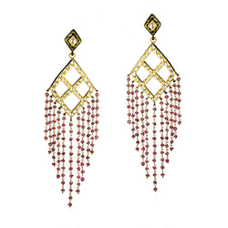 Tourmaline and rock crystal peacock feather earrings, handcrafted fine jewelry