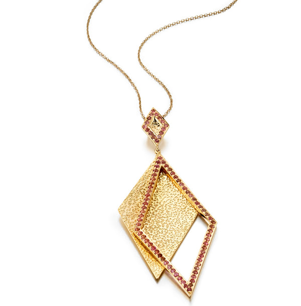 Shimmer Pink Tourmaline Pendant Necklace