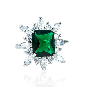 The Pave Diamond Ring - Emerald