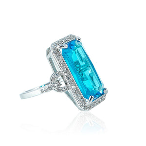 The Pave Diamond Ring - Aquamarine