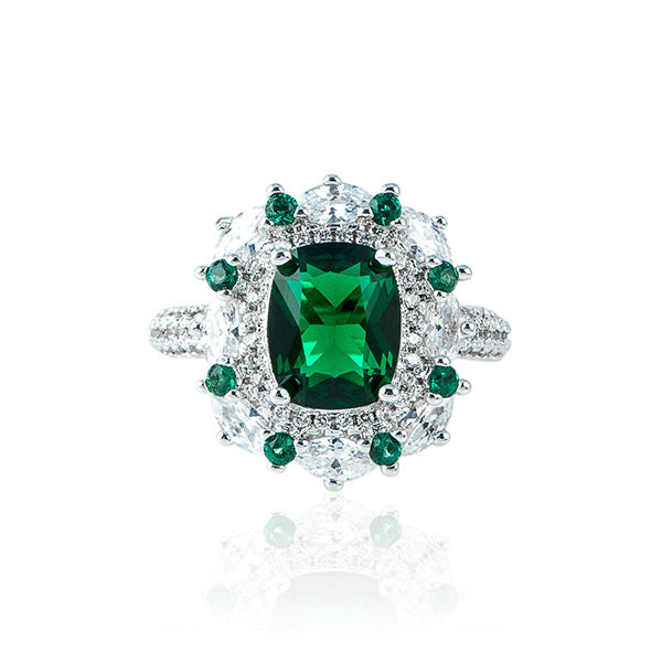 The Pave Diamond Ring - Oval Emerald