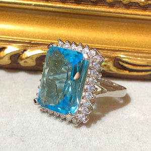 The Art Deco Style Ring - Aquamarine Colour