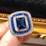 The Art Deco Style Ring - Sapphire Colour
