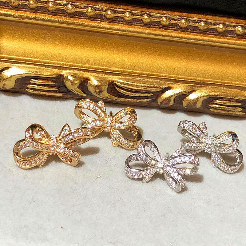 Tiara 3D Bow Stud Earrings