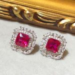 Victoria Art Deco Ruby Stud Earrings