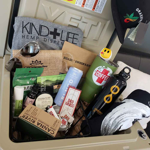 CBD Remedies Father's Day Gift Yeti Tundra Cooler filled with various CBD goodies, t-shirts, and Dad inspired gifts.