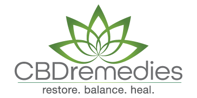 CBD Remedies Logo Mark with caption restore. balance. heal