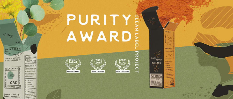 Pachamama's Purity Award graphic image showing product packaging and awards.