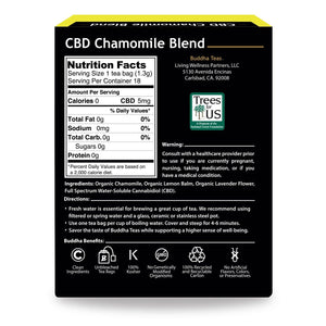 Buddha Teas CBD Chamomile Tea Box Back Side Nutrition Facts Warning Directions and Emblems describing Clean Ingredients, Unbleached Bags, 100% Kosher, Non-GMO, Recycled Carton, No Artificial ingredients