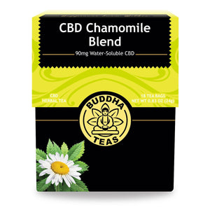 Buddha Teas CBD Chamomile Tea Box Front Side 90mg CBD Water Soluble at 18 Tea Bags