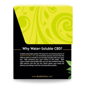 Buddha Teas CBD Chamomile Tea Box Why Water Soluble CBD explaining nanosized particles that ensure the CBD is in the tea bags