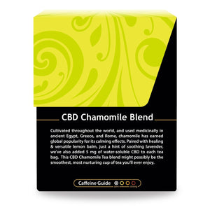 Buddha Teas CBD Chamomile Tea box with Description and Caffeine Guide describing low Caffeine