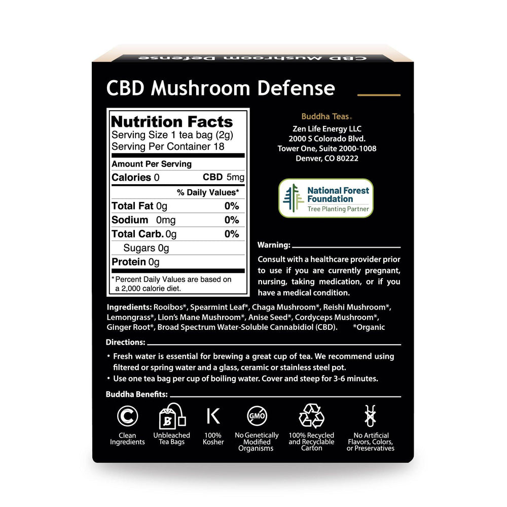 Buddha Teas CBD Mushroom Defense Box Back Side Nutrition Facts Warning Directions and Emblems describing Clean Ingredients, Unbleached Bags, 100% Kosher, Non-GMO, Recycled Carton, No Artificial ingredients
